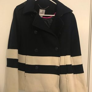 Navy Blue and White Striped Peacoat
